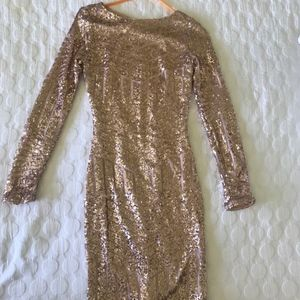 Dresses & Skirts - Long sleeve gold/pink sequin dress size S